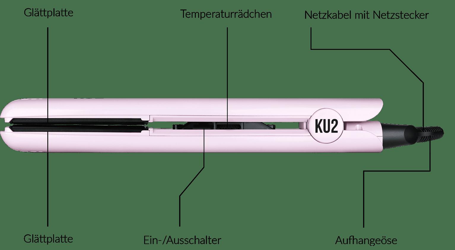 Das KU2 Cosmetics Glätteisen in stylischem Pink